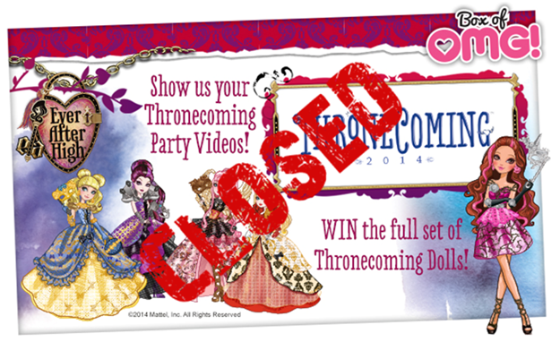 Who has WON the full set of Thronecoming Dolls with their Box of OMG?